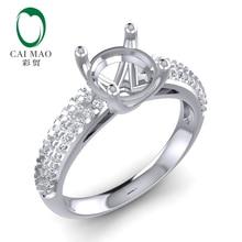 Caimao Round Cut 14k White Gold 0.33ct 6.5mm Natural Full Diamond Ring Prong