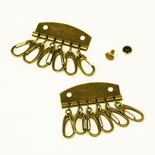 free shipping 10pcs/lot thick leather craft accessories DIY wallet bag inner key ring 6 rings with rivet купить дешево онлайн