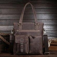 New Briefcase Luxury Men Bag Crazy Horse Genuine Leather Bag Casual Messenger Bag Vertial Section Business Handbag L-3384