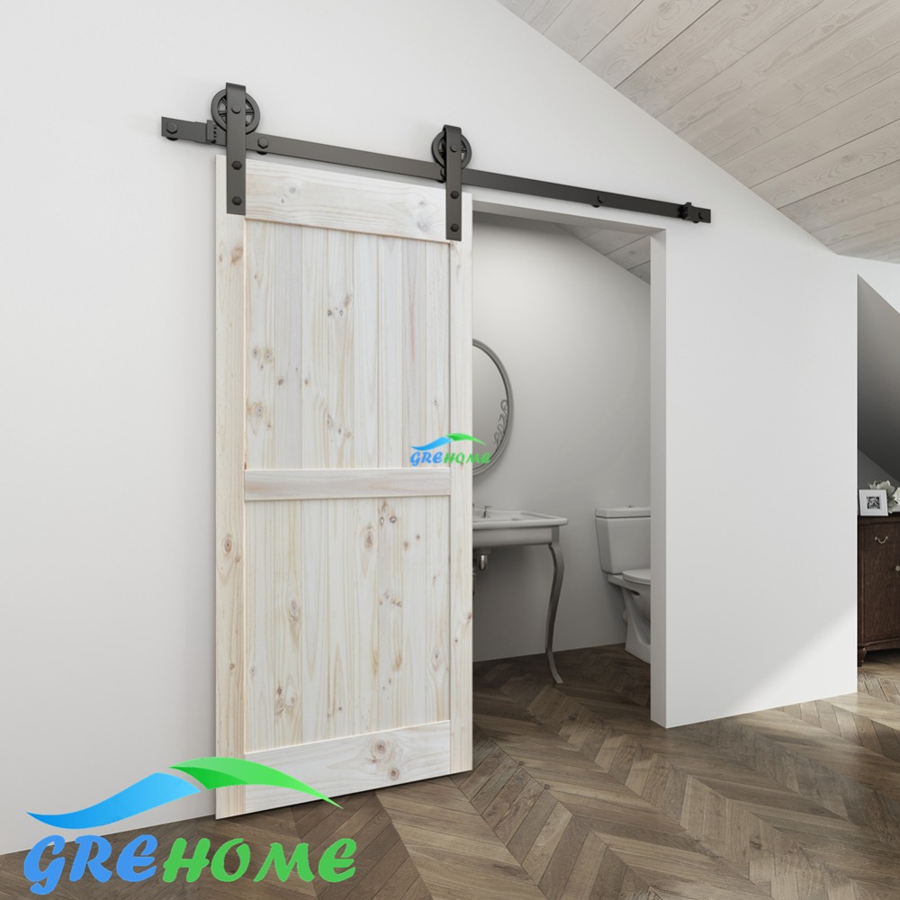 4.9FT/6FT/6.6FT Carbon steel Big hanger roller sliding barn door hardware wood door sliding track for interior doors