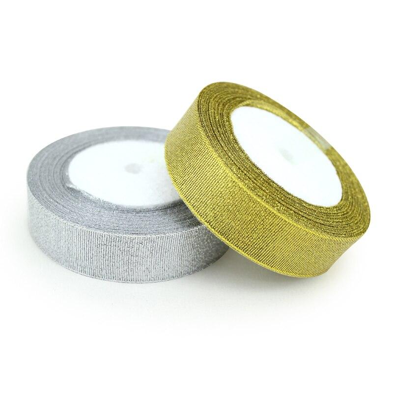 (25 ярдов/рулон) золото и серебро Подарочная упаковка лента высокого качества Свадебные блестящие ленты
