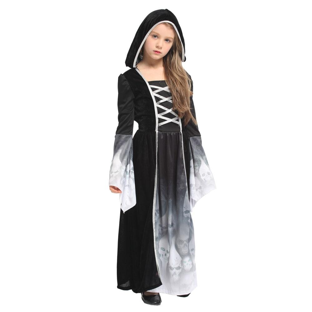 Childs Black Forsaken Souls Gothic Hooded Dress Girls Halloween Fancy Dress