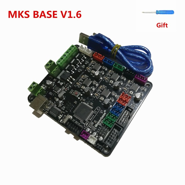 US $28 8 10% OFF|MKS BASE V1 6 circuit board integrated mother board  compatible Mega 2560 R3& RAMPS1 4 Marlin control board RepRap Mendel i3-in  3D