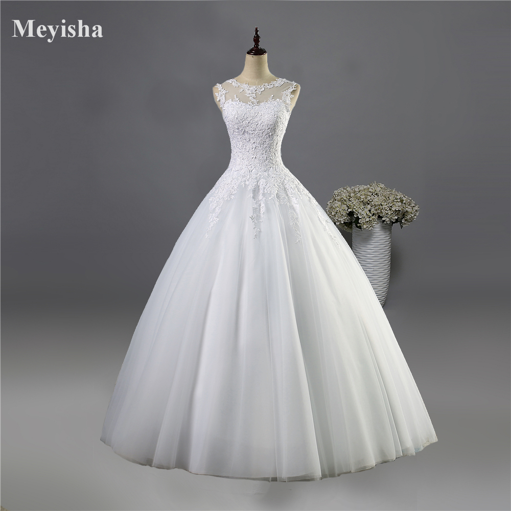 ZJ9036 2016 Tulle Lace White Elfenben Formella Crystal Pärlor Brudklänningar Bröllop Med Trä Prom Kjole plus storlek 2-28W