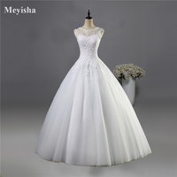 9036 2016 Tulle Lace White Ivory Formal Crystal Beads Bridal Dress Dresses Wedding With Train Prom