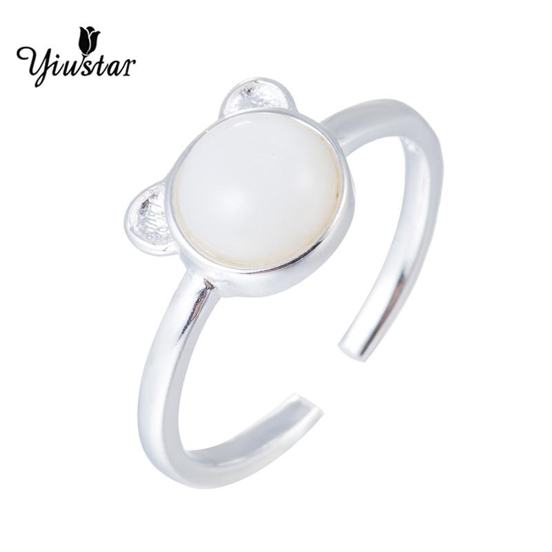 Yiustar белый камень кошка кольцо матовая котенок кошка Обёрточная Бумага кольцо животных палец кольцо для молодой девушки Для женщин Регулир...