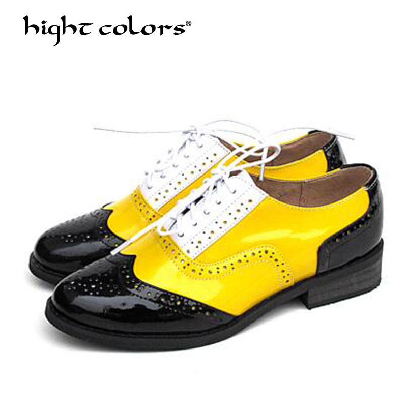 hight colors Oxfords Women Wingtip Genuine Leather Calfskin Flats Lace Up Pointed Toe Lady Brogue Shoes