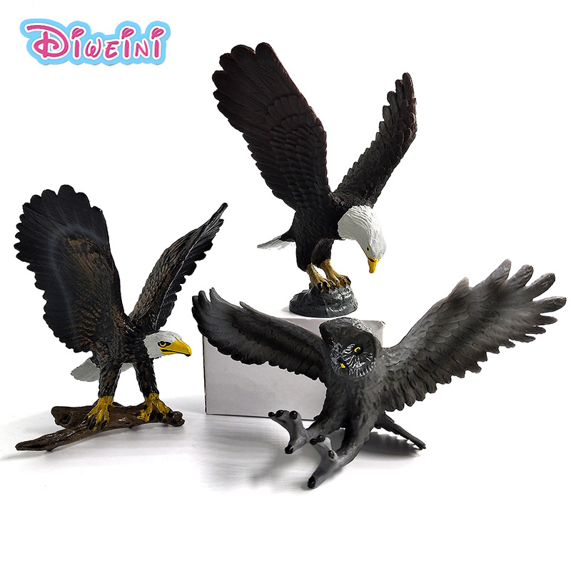 Simulation Eagle PVC Animals model furniture Owl Figurine Birds home decoration accessories Decor plastic toy Gift For Kids about 30cm simulation black night owl toy lifelike model garden decoration gift t038