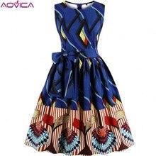 Aovica S 4XL Più Le Donne di Formato abbigliamento Africano Abito Senza Maniche Estate Dashiki Abiti vestidos de fiesta