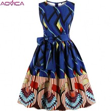 Aovica S 4XL Plus Size Women African clothing Dress Sleeveless Summer Dashiki Dresses vestidos de fiesta