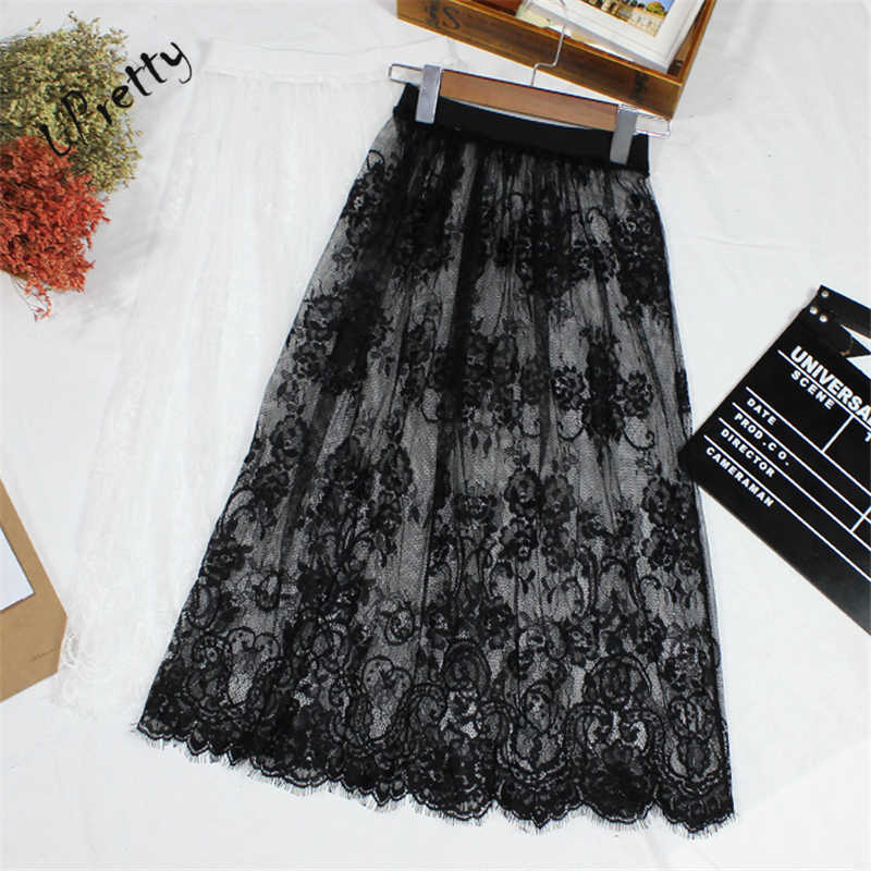 dd7614e0e9 Women Sexy Lace Mesh Skirt Spring Summer Casual High Waist Elastic Floral Hollow  Out A-
