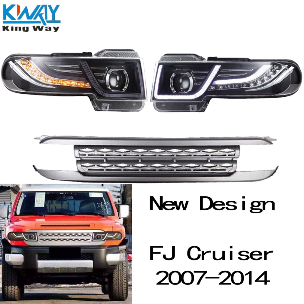 Led halo projector headlights for toyota fj cruiser 2007 2014 light with grille china