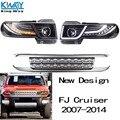 LEVOU Faróis Projetor Halo Para Toyota FJ Cruiser 2007-2014 Luz Com Grade