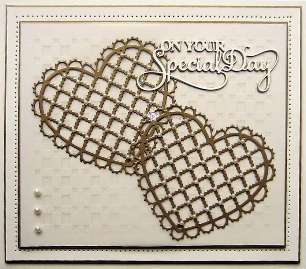 Image 4 - Piggy Craft metal cutting dies cut die mold 2Pcs Lace net Heart frame Scrapbook paper craft knife mould blade punch stencils die-in Cutting Dies from Home & Garden