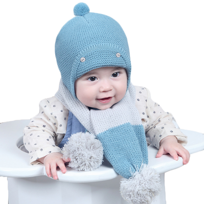 Winter Baby Knitted Hat Beanie Scarf Sets Boys Girls Patchwork Color Caps Collars Kids Fashion Hat Warm Clothing Accessories 2016 winter new soft bottom solid color baby shoes for little boys and girls plus velvet warm baby toddler shoes free shipping