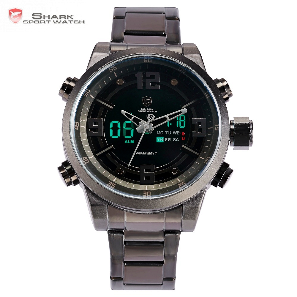 Basking Shark Sport Watch Brand Fashion Chrono Men Waterproof Digital Military Steel Band Watches Clock Relogio Masculino /SH343 snaggletooth shark sport watch lcd auto
