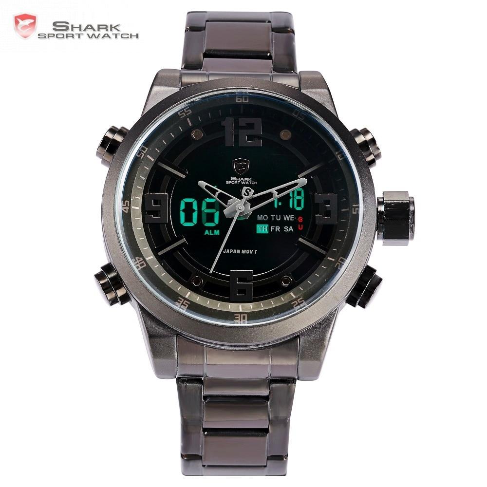 Basking Shark Sport Watch Brand Fashion Chrono Men Waterproof Digital Military Steel Band Watches Clock Relogio Masculino /SH343