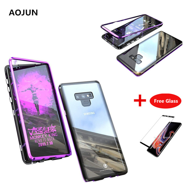 premium selection d04fc ac23b US $12.72 9% OFF|Aojun Ultra Magnetic Adsorption Phone Case For Samsung  Galaxy Note 9 Metal Magnet Glass Back Cover For Samsung Note 9+Free  Glass-in ...