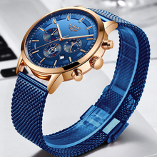 Relogio Masculino LIGE Casual Fashion Mens Watches Sports Quartz Watch Men All Steel Blue Mesh belt Chronograph Waterproof Clock