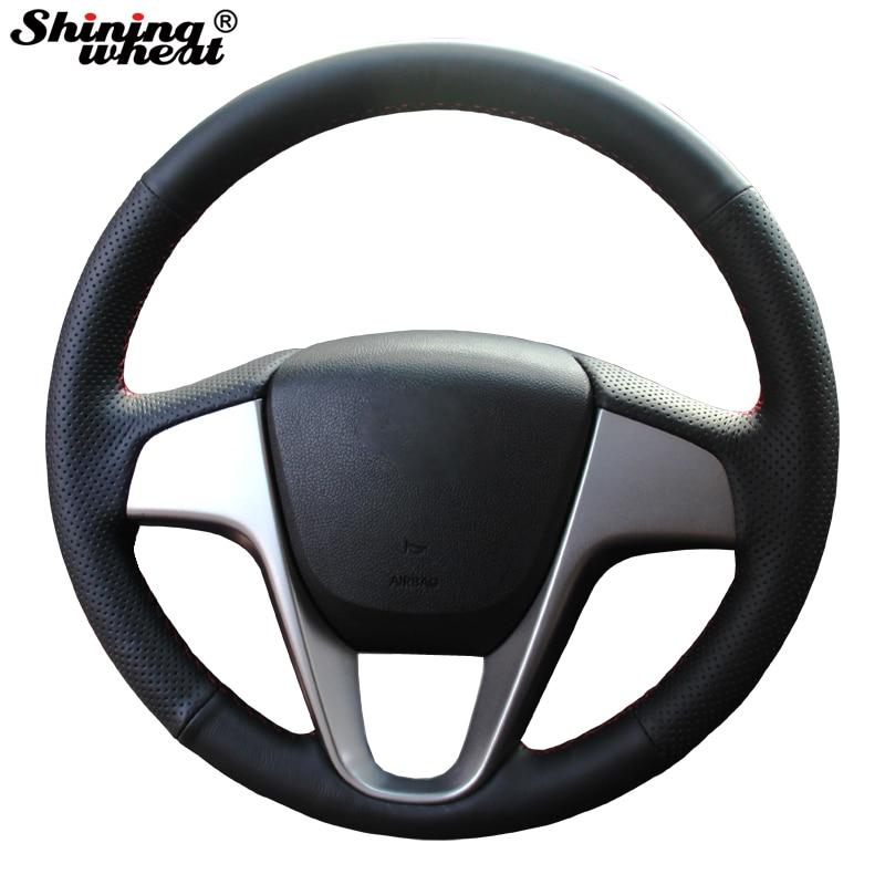 Lśniąca pszenica Ręcznie szyta czarna skórzana pokrywa kierownicy do Hyundai Solaris Verna I20 Accent