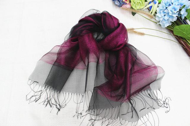 2015 nueva seda bufanda mujeres 6 color de moda del color sólido bufandas organza bufandas dobles