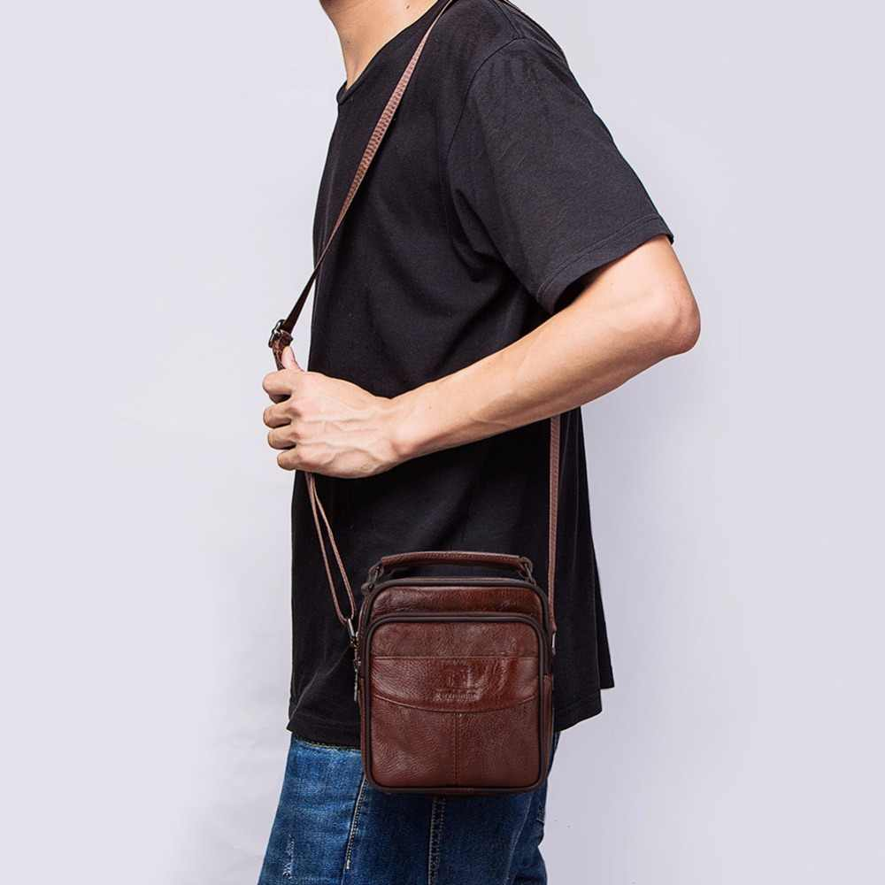 FUZHINIAO Messenger Bag Men 100% Genuine Leather Small Cowskin Male Bags Vintage Men's Business Cowhide Shoulder Crossbody Bag