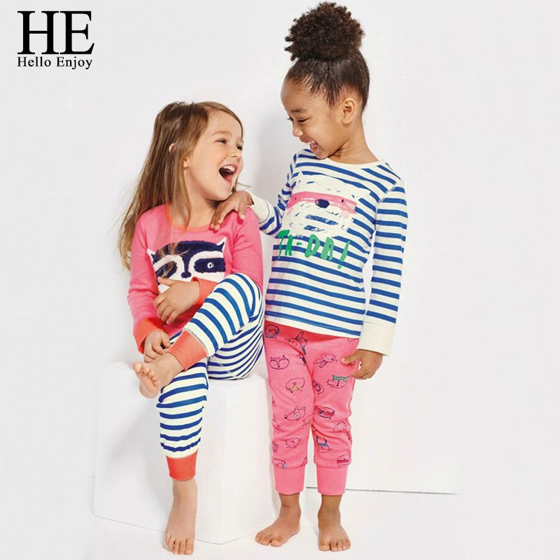 HE Hello Enjoy Kids Clothing Girls Clothes Sets 2017 Spring Autumn Long Sleeve Cartoon Striped Print T-Shirt+Trousers Sport Suit girls clothing sets 2015 autumn child casual long sleeve cat kitty cartoon t shirt