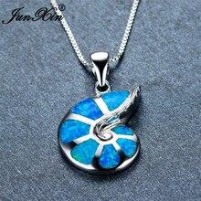 JUNXIN женское ожерелье из голубого опала овальное 925 пробы Серебряное заполненное ожерелье s Подвески новая мода животное ювелирные изделия подарок