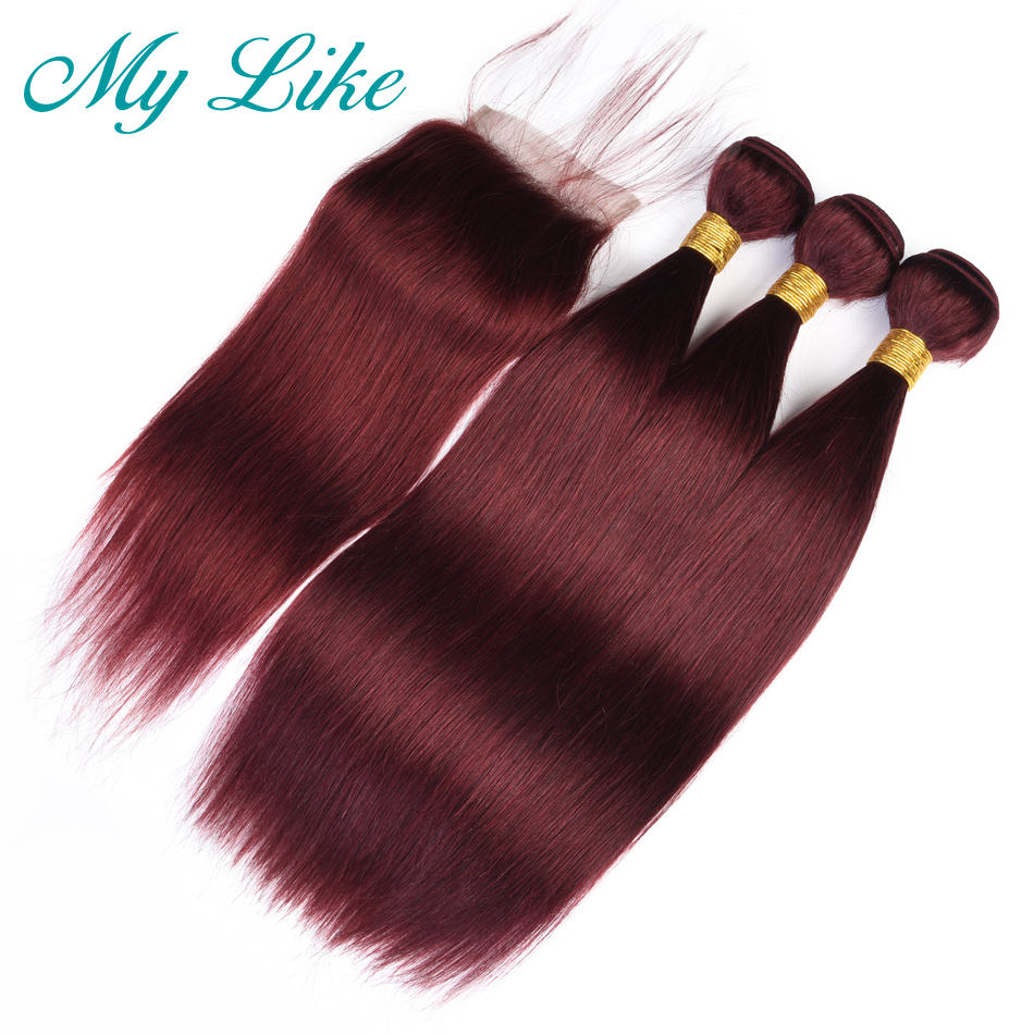My Like Mongolian Straight Hair Weave 3 Bundles With 4x4 Lace Closure 99j Red Burgundy Human Hair Bundles With Closure Non-remy