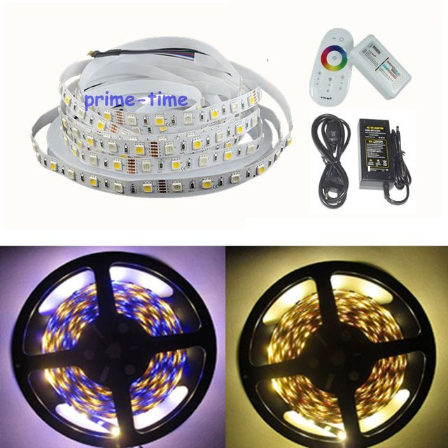 5M 5050 RGBW RGBWW RGB+Cool/warm white 300 Leds Non-waterproof flexible LED strip light+2.4G RF remote Controller+ 12v 5A power