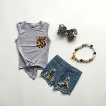 Dziewczynek ubrania słonecznik drukuj stroje spodenki dżinsowe szary kamizelka top dziewczyny stroje butikowe z akcesoriami