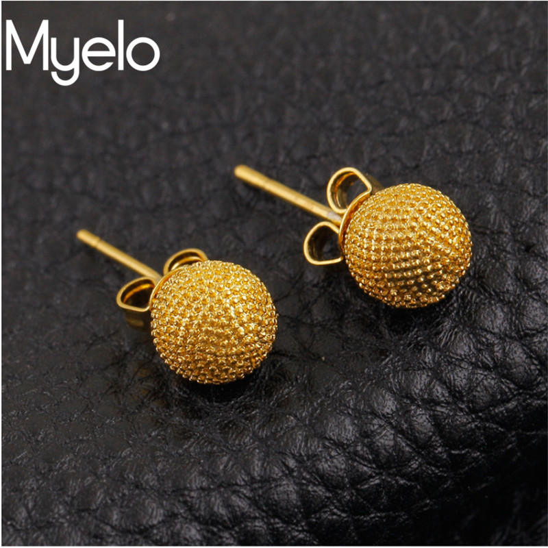 Trendy Daily News: Myelo New Trendy Fashion Earrings Gold Color Ball Stau