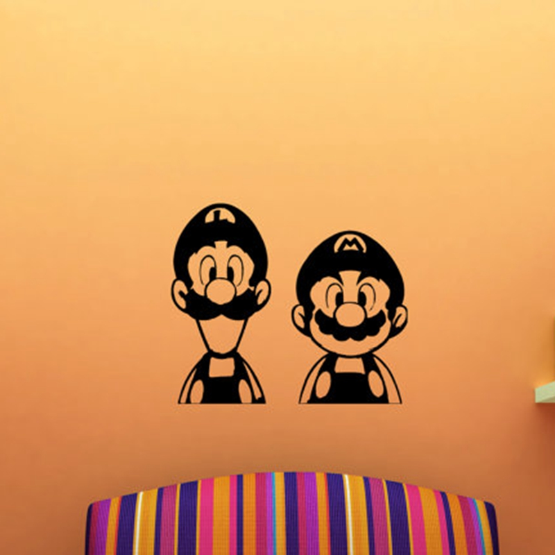 Super Mario And Luigi Wall Stickers Mural For Kids - Vinyl Wall Decal Sticker Super Mario ,free Shipping K2072