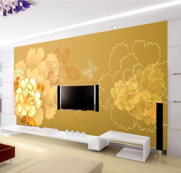 3D stereoscopic large mural custom photo fabric fresco wall paper Peony Chinese TV sofa backdrop living room bedroom wallpaper