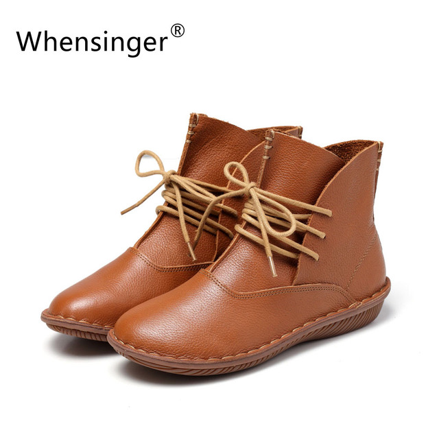 Whensinger - 2017 Full Grain Leather Fashion Boots Women Shoes Lace-Up Handsewn 506