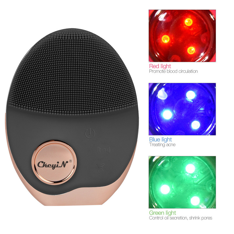 Mini Electric Ultrasonic Wireless charging Facial Cleansing Brush Silicone Rechargeable Face Waterproof Massager with Photon 40-in Powered Facial Cleansing Devices from Home Appliances