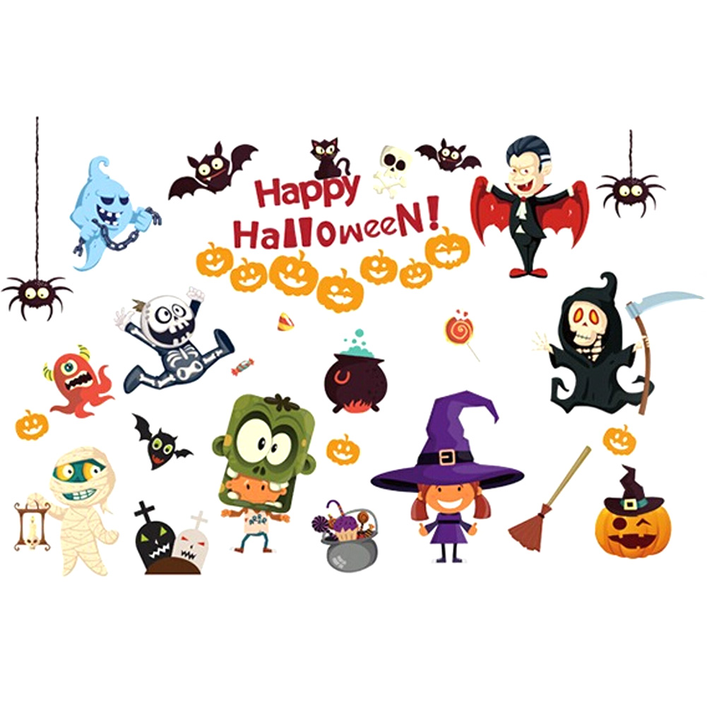 Halloween decoration clipart - New Arrival Happy Halloween Vinyl Wall Stickers For Kids Rooms Window Background Home Decor Poster Halloween