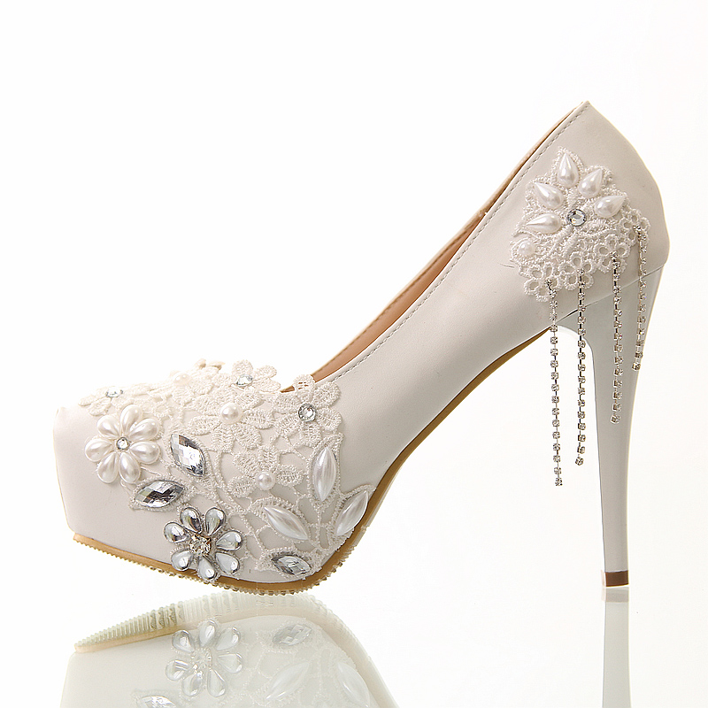 White Lace Women's Shoes Flower Bride Shoes Waterproof Crystal Tassel Wedding Shoes Women Fine Documentary Pumps 12cm High Heels