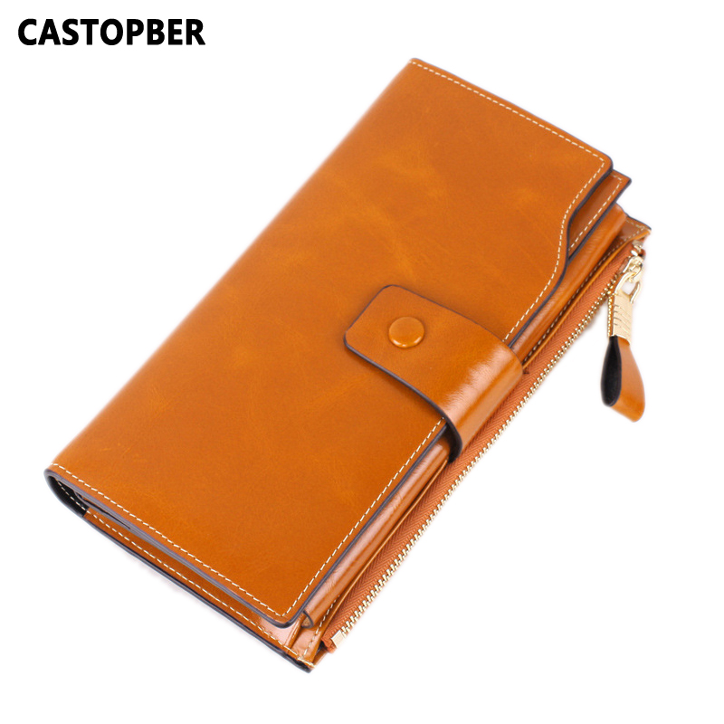 Wallet Women Clutch Long Purse Oil Wax Cow Genuine Leather Wallets Ladies Retro Clutch Card Holder Female Phone Bag High Quality baellerry double zipper women business card holder wallet oil wax leather purse female name bank credit cards driver license bag
