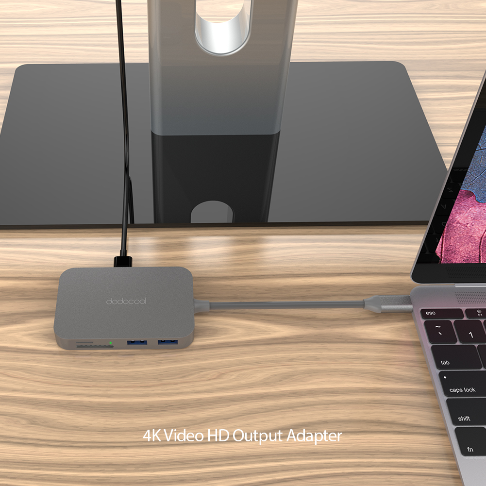 USB-C 7-in-1 Hub Adapter USB 3.0 4K HDMI SD/TF Card Best Dodocool Ports USB Cables, Hubs & Adapters All-In-One Hub Adapter Hub Adapter USB Adapter USB-C