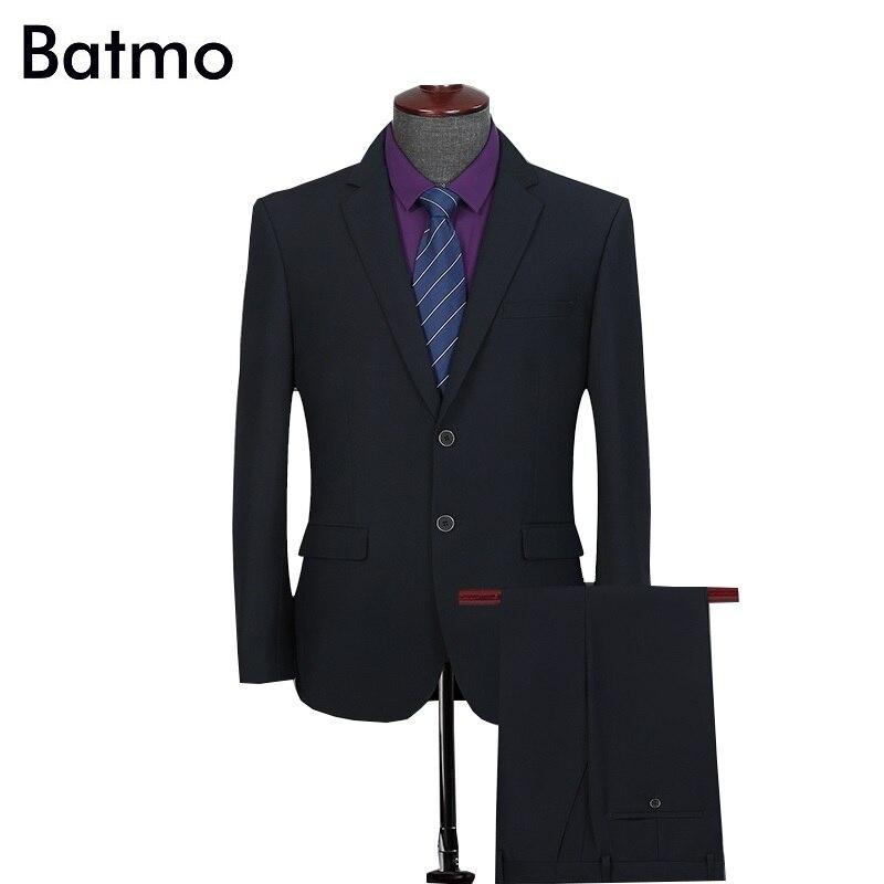 Batmo 2019 new arrival wysokiej jakości formalne czarne garnitury mężczyzn, smart casual garnitury męskie (kurtki + spodnie) plus size S 4XL 6601 w Garnitury od Odzież męska na AliExpress - 11.11_Double 11Singles' Day 1