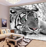 Black and white tiger 3D Blackout Window Curtains For Living Room kids Bedroom Drapes Cortina Rideaux Customized size pillowcase