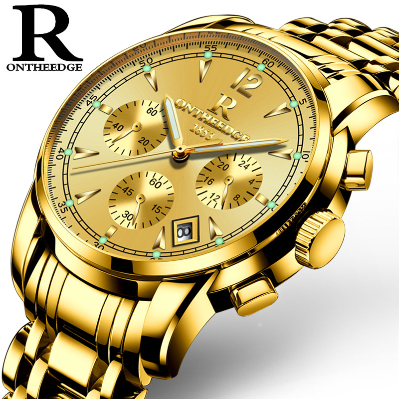 Mens luxury gold wristwatches quartz Multifunction waterproof stainless steel man watches Business calendar ONTHEEDGE brand luxury mens gold diamond stainless steel watches quartz calendar 30m waterproof man clocks luminous top brand original watch