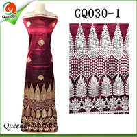 2017 GQ030 Queency Curious Raw Silk Embroidery George African Fabric Wholesale From India For 5 Yards