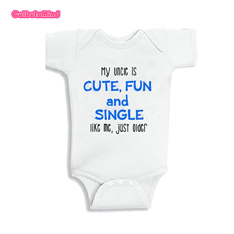 Funny Aunt/Uncle Body Suit My Aunt Is Cute, Fun, And Single Niece Gift Nephew Outfit dress 0-12M Newborn Girl/Boy white Jumpsuit ...