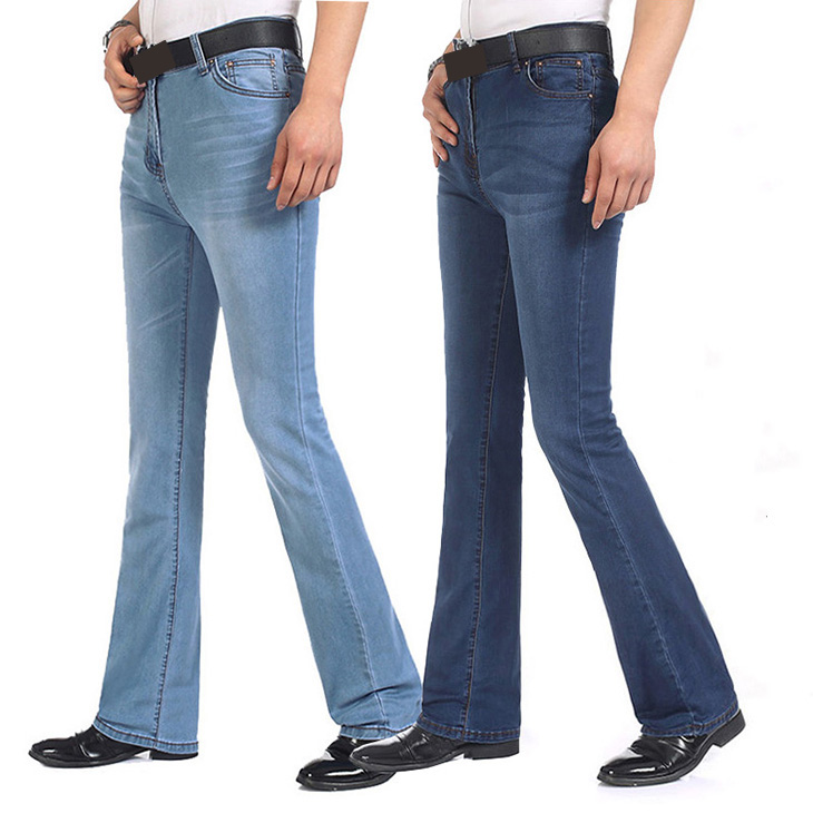 Mens Flared Leg   Jeans   Trousers High Waist Long Flare   Jeans   For Men Bootcut Thin   Jeans   Hommes bell bottom   jeans   men
