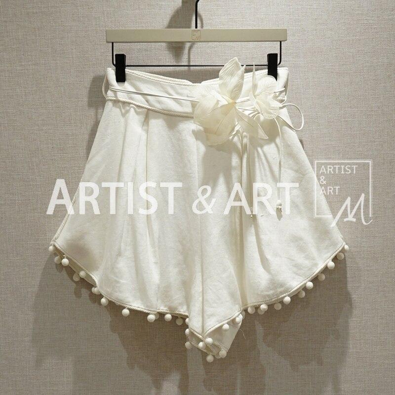 Svoryxiu 2019 New Designer Brand Summer Linen Shorts Women s Beach Holiday Waist FIower Casual Sexy