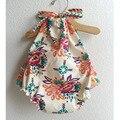 Сладкий Детская Одежда старинные цветочный принт Комбинезон для Ребенка Мальчики Девочки Флис Ребенка Комбинезон Новорожденный Одежда Ползунки