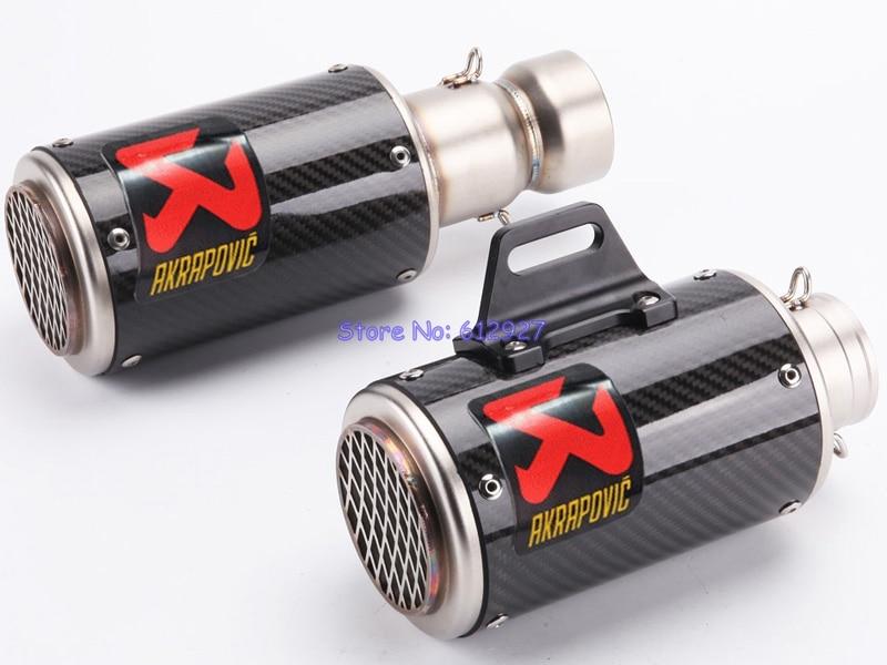 Universal Inlet 51mm 60mm Motorcycle Akrapovic Exhaust Muffler Pipe Carbon Fiber Motorbike Muffler Exhaust Pipe Escape
