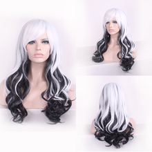 Anime Long Wavy White Black Ombre Wig Cosplay Costume Japanese Harajuku Lolita Hair Wigs For Women black and white ombre long wavy side bang synthetic fashion lolita harajuku cosplay wig for party